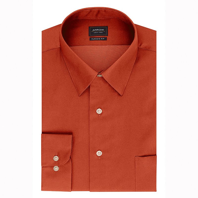 Men's Arrow Classic-Fit Sateen No-Iron Point-Collar Dress Shirt