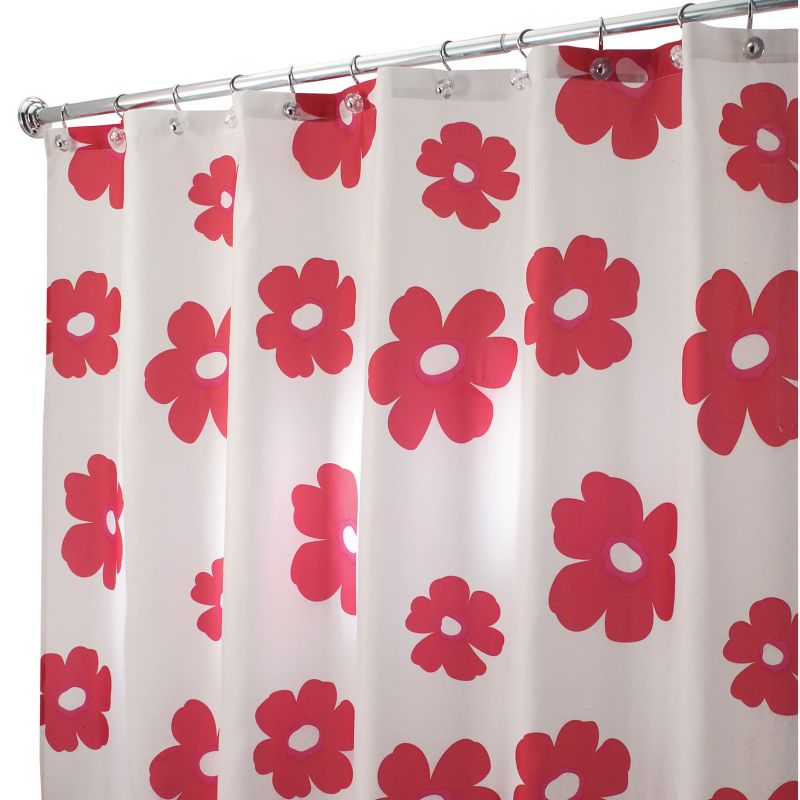 RED POPPY FABRIC SHOWER CURTAIN