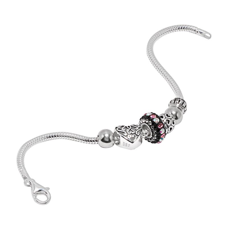 Individuality Beads Sterling Silver Snake Chain Bracelet and Crystal and Openwork Heart Bead Set