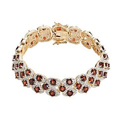 18k Gold-Plated Garnet & Diamond Accent Openwork Bracelet 7.25-in. by