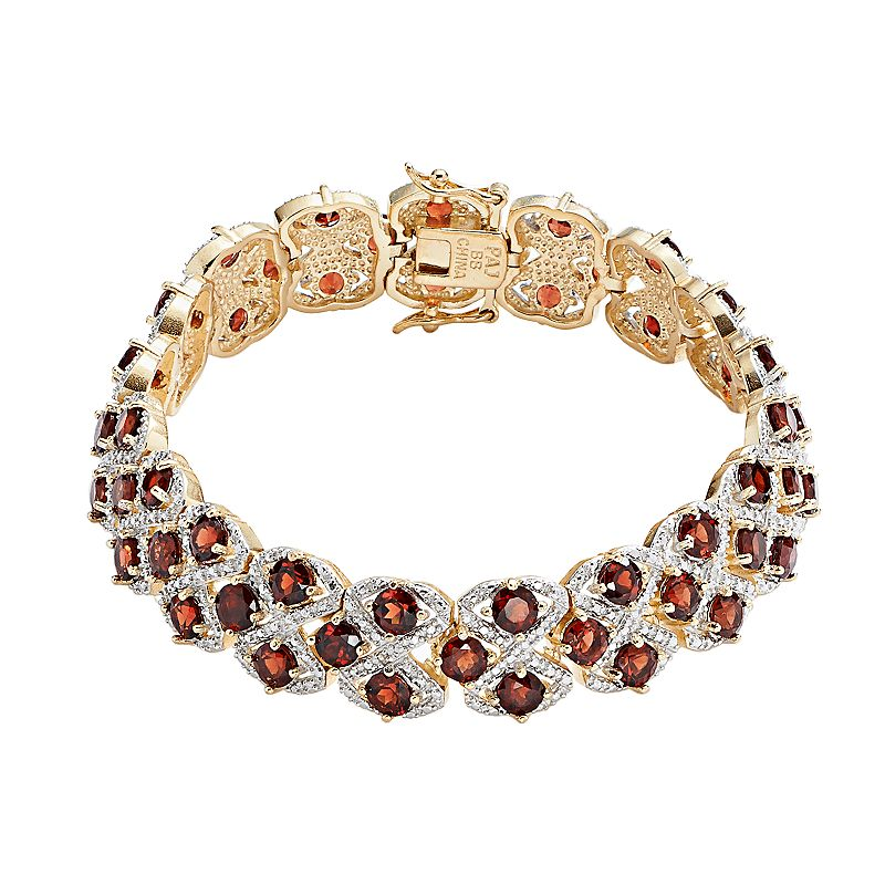 18k Gold-Plated Garnet and Diamond Accent Openwork Bracelet - 7.25-in.