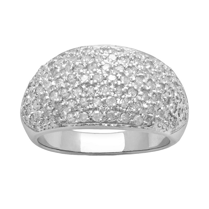 Sterling Silver 1-ct. T.W. Diamond Dome Ring