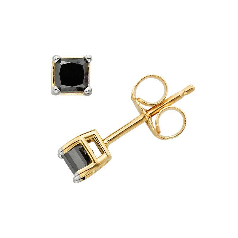 10k Gold 1/2-ct. T.W. Princess-Cut Black Diamond Stud Earrings