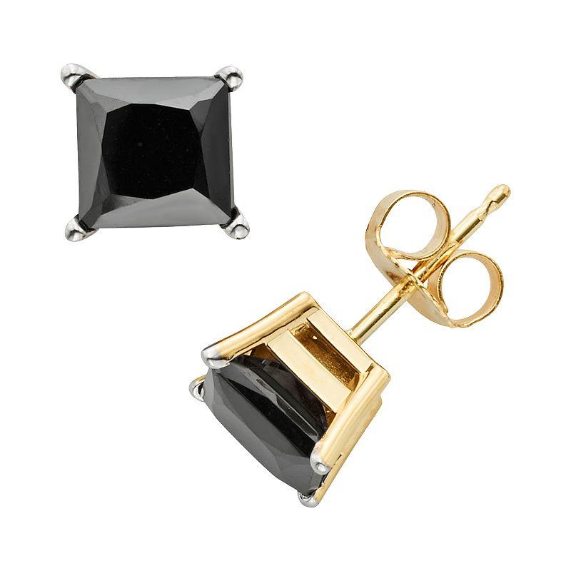 10k Gold 3-ct. T.W. Princess-Cut Black Diamond Stud Earrings