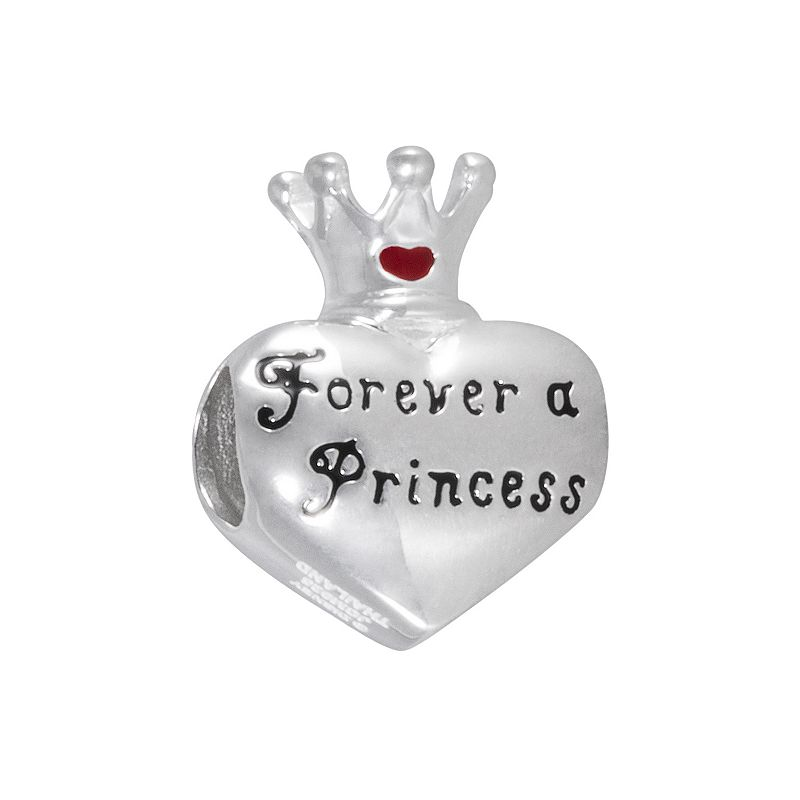 Disney Sterling Silver Forever a Princess Heart and Crown Bead