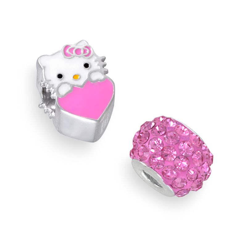 Hello Kitty Sterling Silver Crystal and Heart Bead Set, Women's, Pink