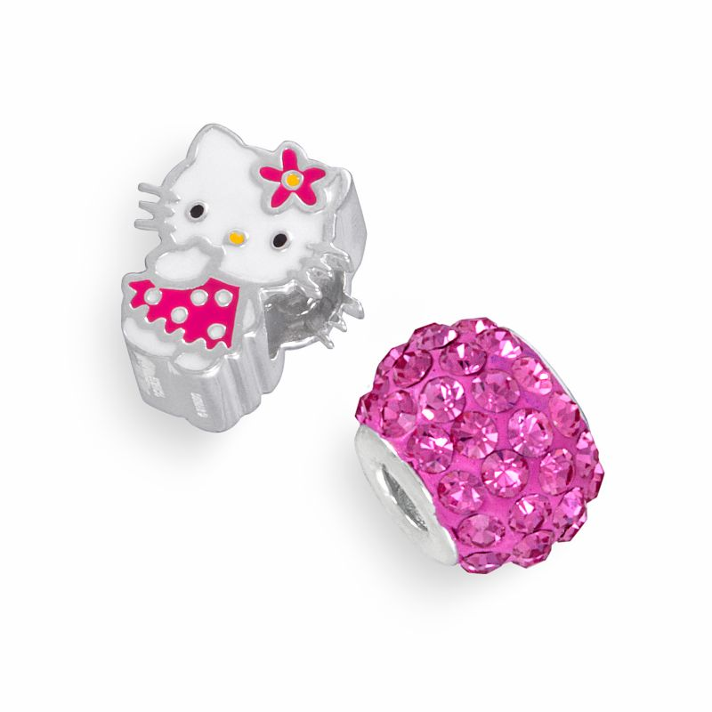Hello Kitty Sterling Silver Crystal Bead Set, Pink