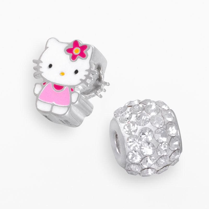 Hello Kitty Sterling Silver Crystal Bead Set, Women's, White