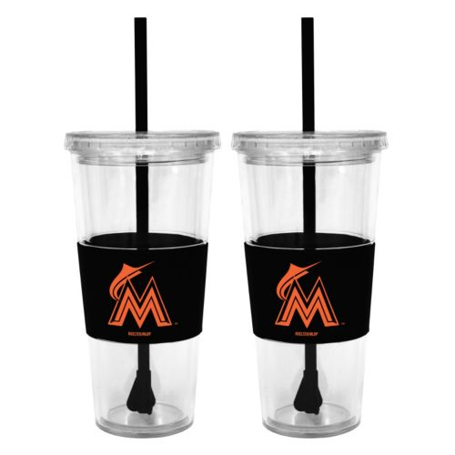 Miami Marlins 2-pc. Double-Walled Straw Tumbler Set