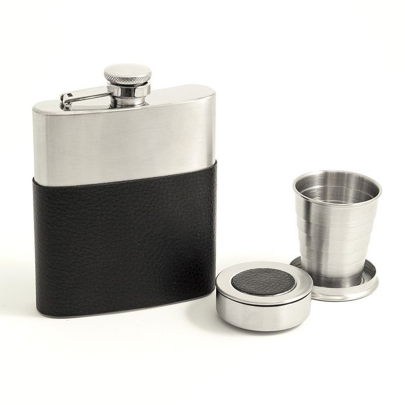Leather-Wrapped Flask and Cups Set