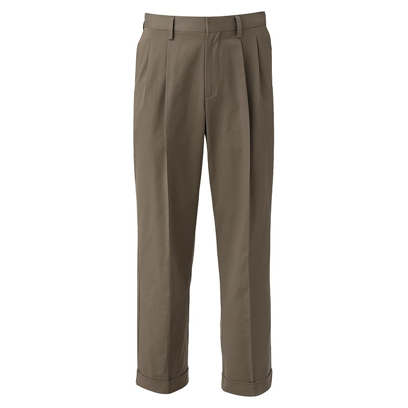 Men's Croft & Barrow® Easy Care Khaki Relaxed-Fit Pleated Pants