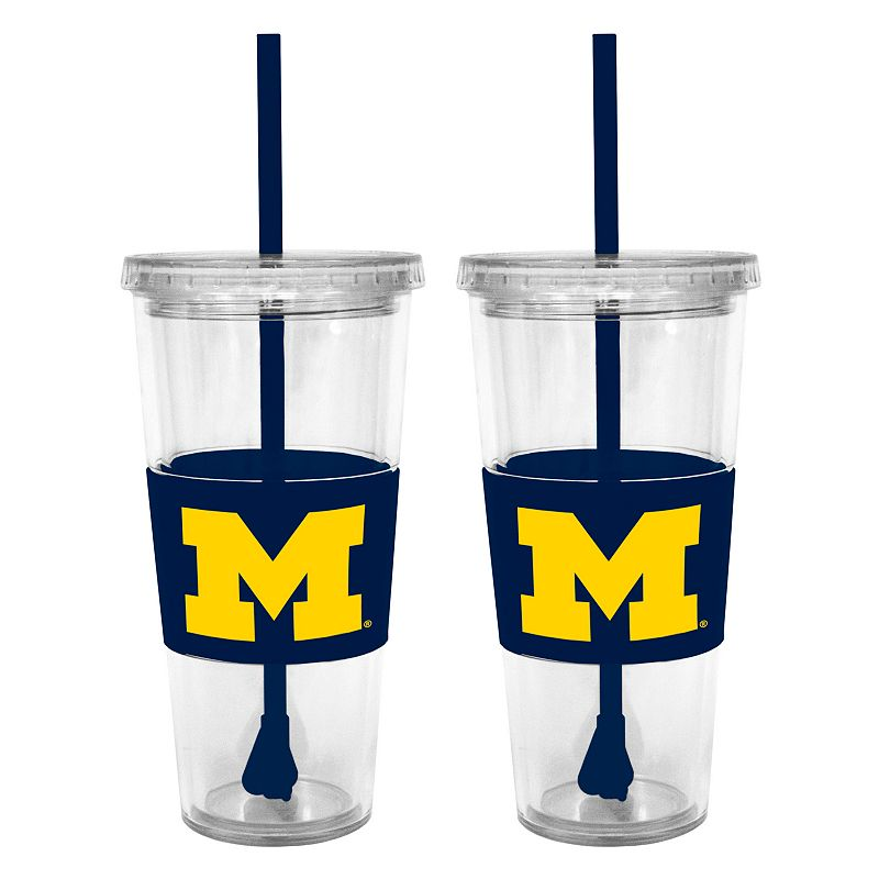 Michigan Wolverines 2-pc. Double-Walled Straw Tumbler Set