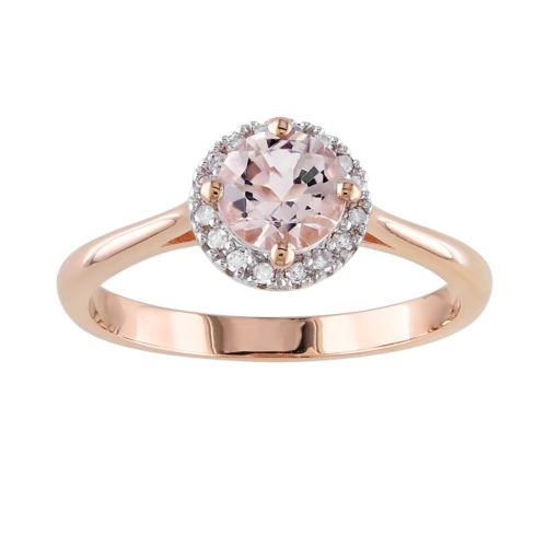 Rose Rhodium-Plated Sterling Silver Morganite and Diamond Accent Halo Ring