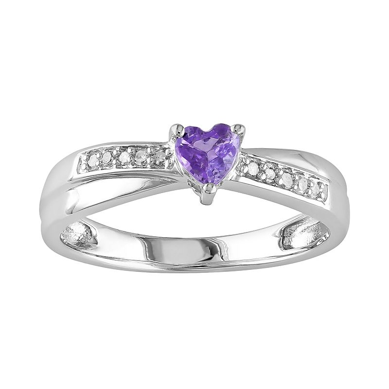 Sterling Silver Amethyst and Diamond Accent Crisscross Heart Ring