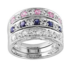 Sterling Silver Lab-Created Pink, Blue & White Sapphire Stack Ring Set by