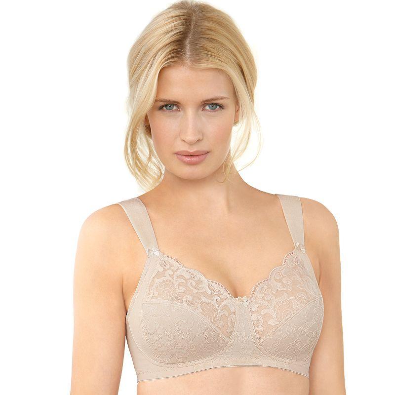 Glamorise Bra: Soft Shoulders Sheer Lace Wire-Free Full-Figure Bra 9810