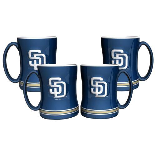 San Diego Padres 4-pk. Sculpted Relief Mug