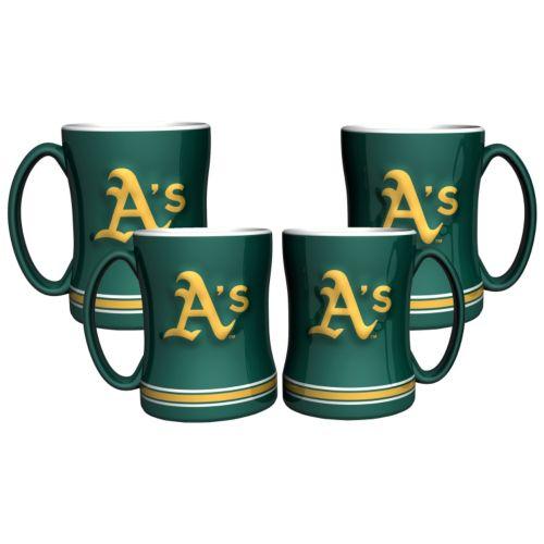 Oakland Athletics 4-pk. Sculpted Relief Mug
