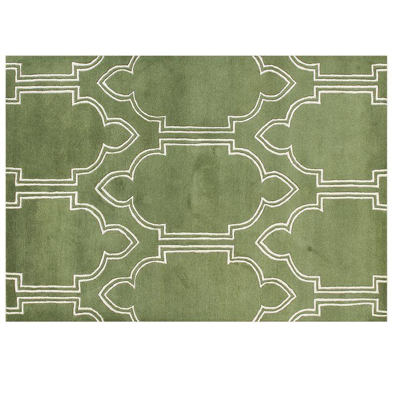 Alliyah Rugs ZnZ Green Geometric Rug - 5' x 8'