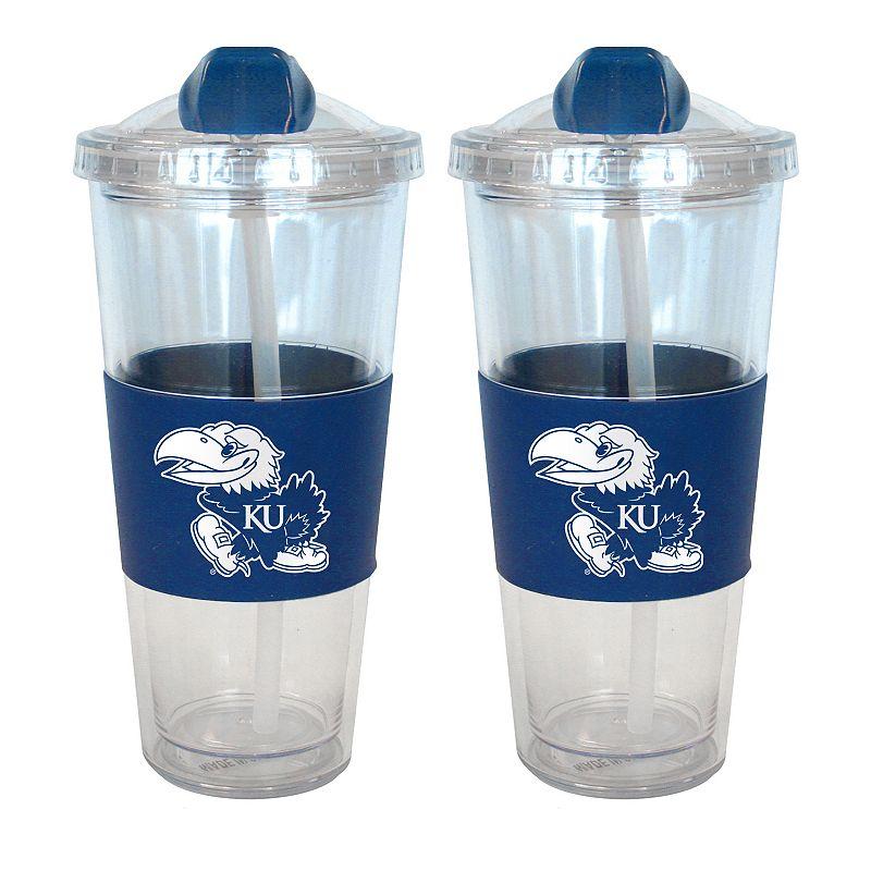 Kansas Jayhawks 2-pk. No-Spill Tumblers With Straws