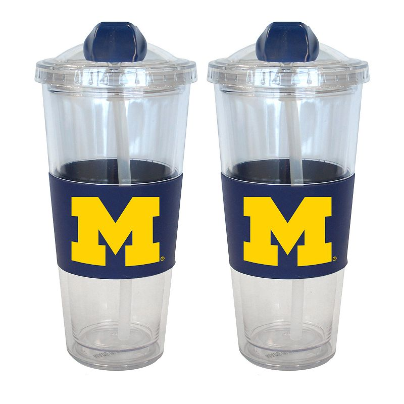 Michigan Wolverines 2-pk. No-Spill Tumblers With Straws