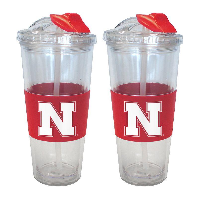 Nebraska Cornhuskers 2-pk. No-Spill Tumblers With Straws