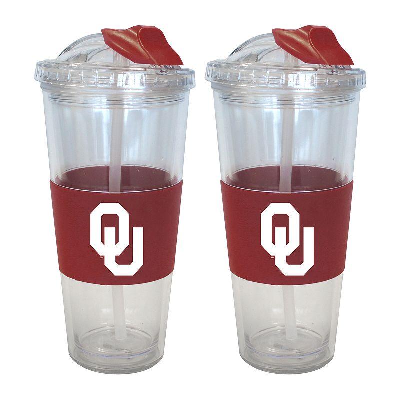 Oklahoma Sooners 2-pk. No-Spill Tumblers With Straws