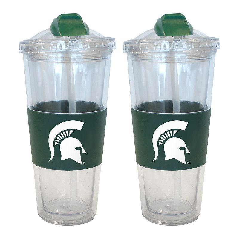 Michigan State Spartans 2-pk. No-Spill Tumblers With Straws