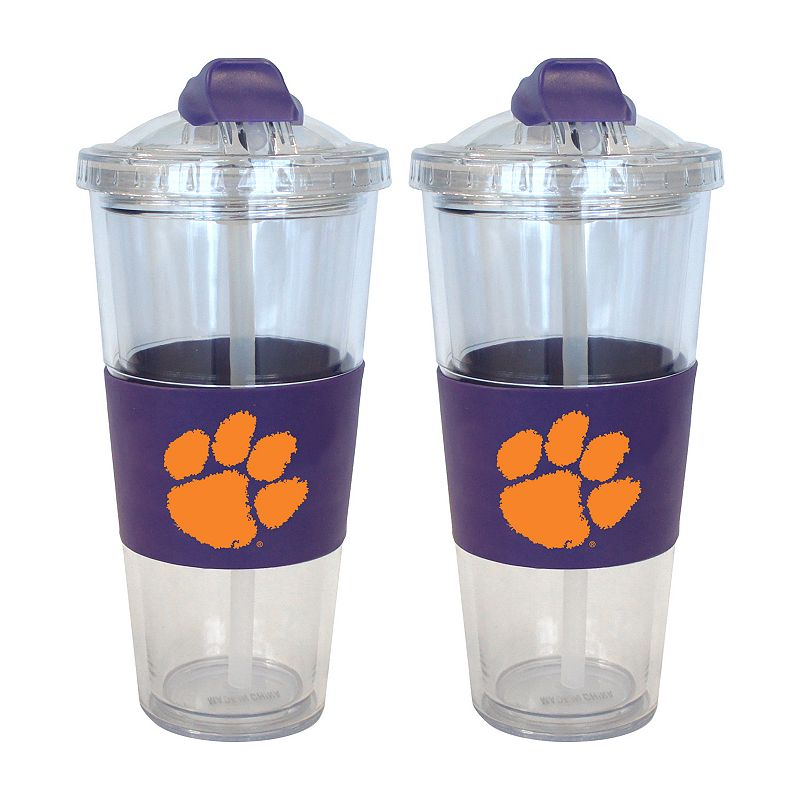 Clemson Tigers 2-pk. No-Spill Tumblers With Straws