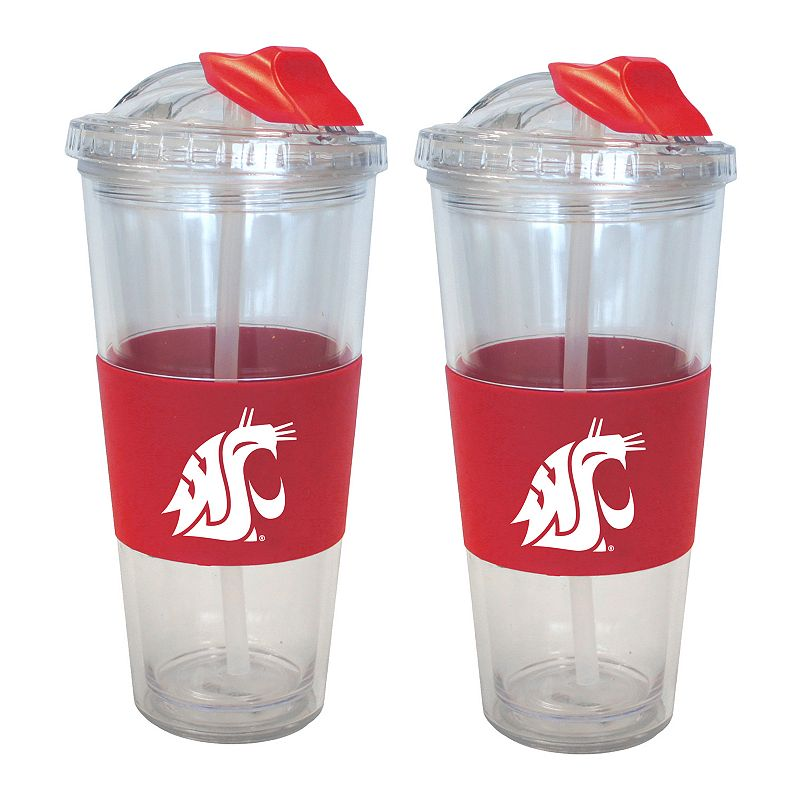 Washington State Cougars 2-pk. No-Spill Tumblers With Straws