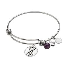 love this life Silver-Plated & Stainless Steel Amethyst Bead & Heart Charm \
