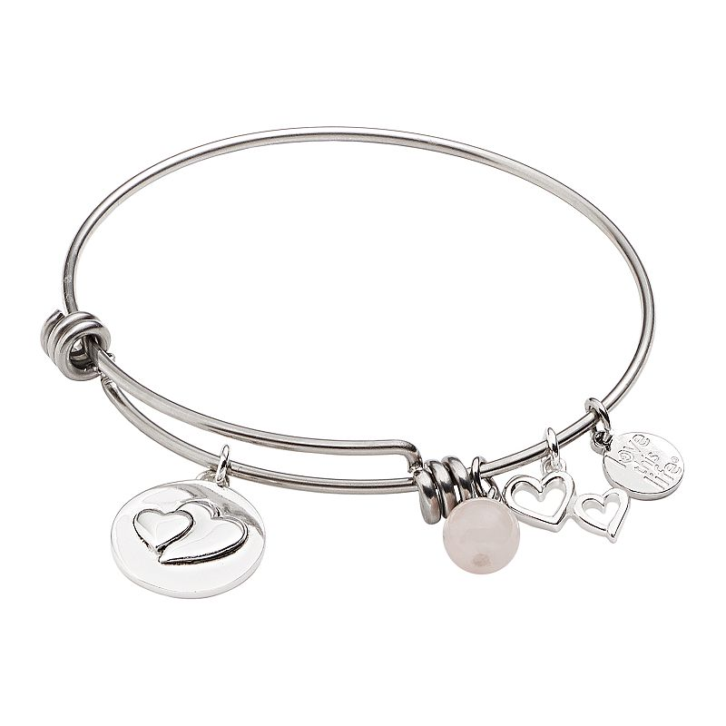 love this life Silver-Plated and Stainless Steel Rose Quartz Bead and Heart Charm Little Sis Bangle Bracelet