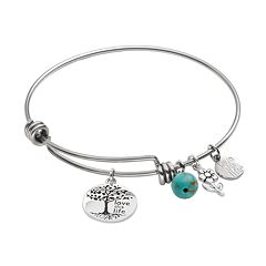 love this life Silver-Plated & Stainless Steel Simulated Turquoise Bead & Tree Charm Bangle Bracelet