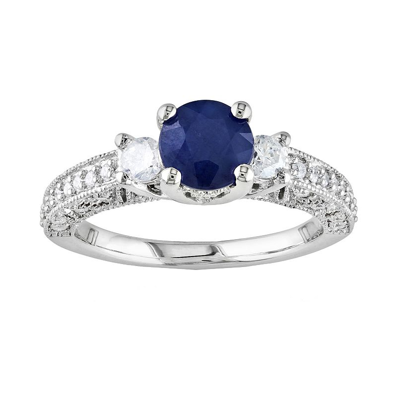 14k White Gold 1/2-ct. T.W. Round-Cut Diamond & Sapphire 3-Stone Wedding Ring