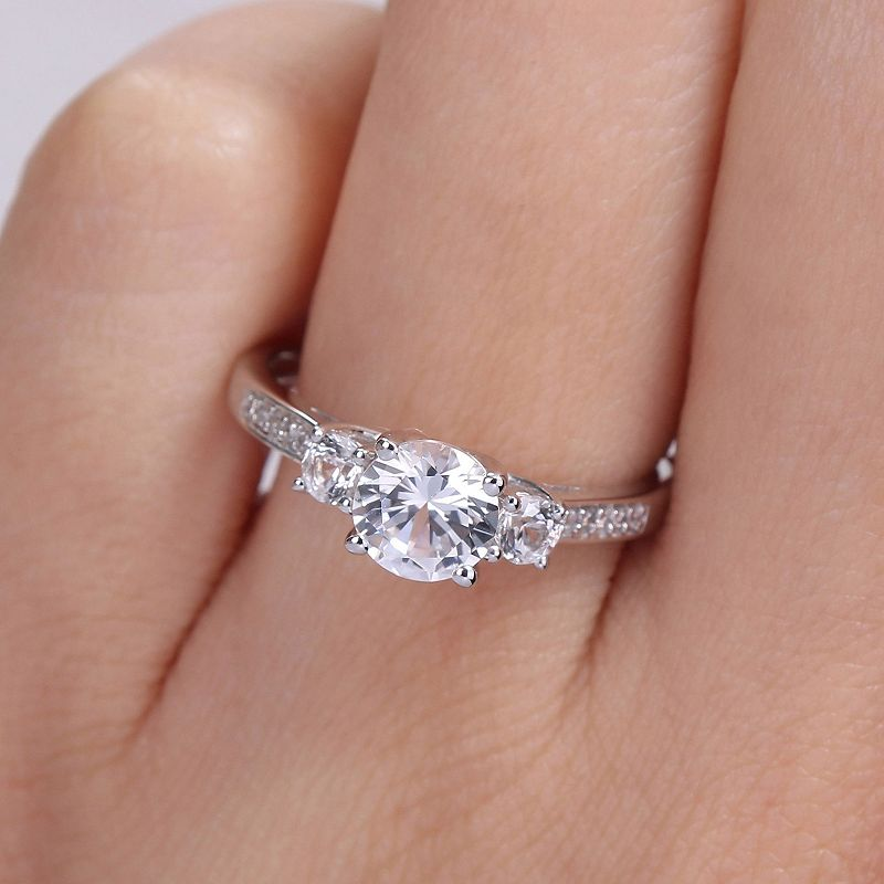10k White Gold Lab-Created White Sapphire Diamond Accent 3-Stone Wedding Ring