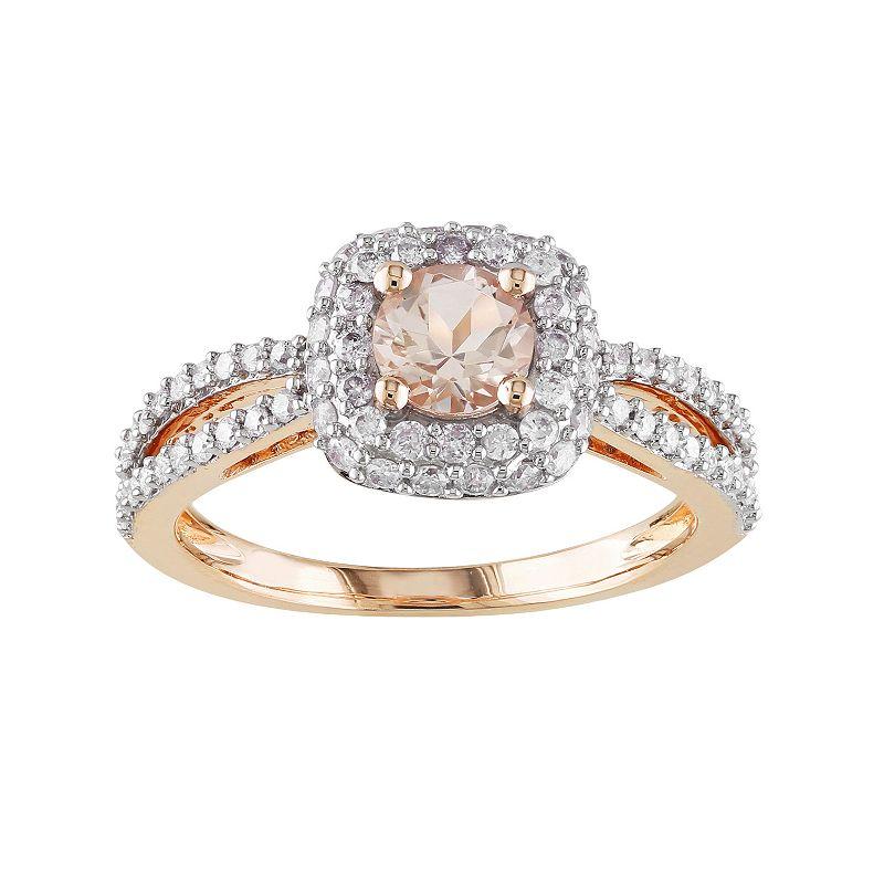 14k Rose Gold 1/2-ct. T.W. Round-Cut Diamond and Morganite Halo Wedding Ring