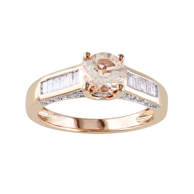 14k Rose Gold 1/2-ct. T.W. Diamond and Morganite Wedding Ring
