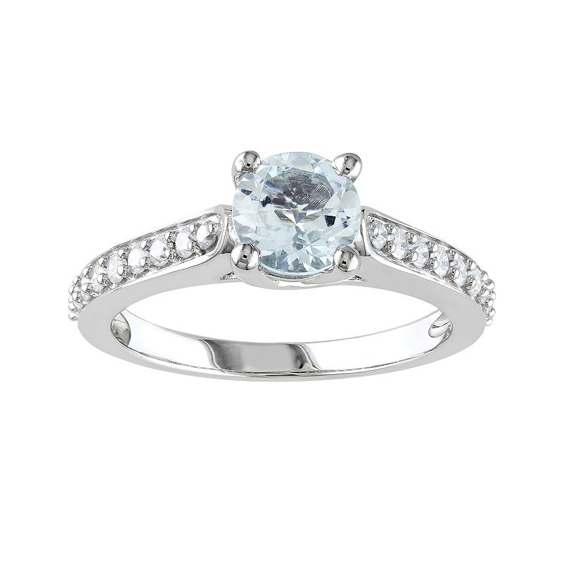 Aquamarine and 1/4 Carat T.W. Diamond Engagement Ring in 10k White Gold