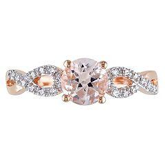 Morganite & 1/10 Carat T.W. Diamond Engagement Ring in 10k Rose Gold