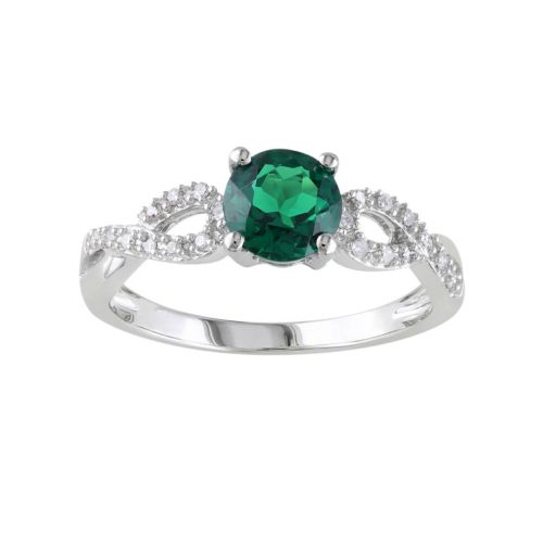 lab created emerald and 1 10 carat t w engagement