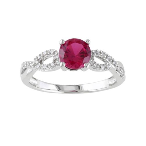 Lab Created Ruby and 1 10 Carat T W Diamond Engagement Ring in 10k White Gold