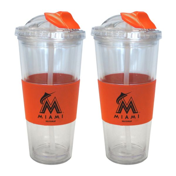 Miami Marlins 2-pk. No-Spill Tumblers With Straws