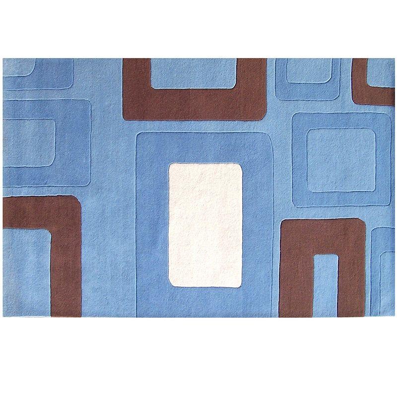 Alliyah Rugs ZnZ Blue Geometric Rug - 5' x 8'