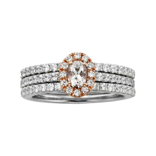The HALO Collection Oval-Cut Diamond Engagement Ring Set in 10k White and Rose Gold (1 1/4 ct. T.W.)