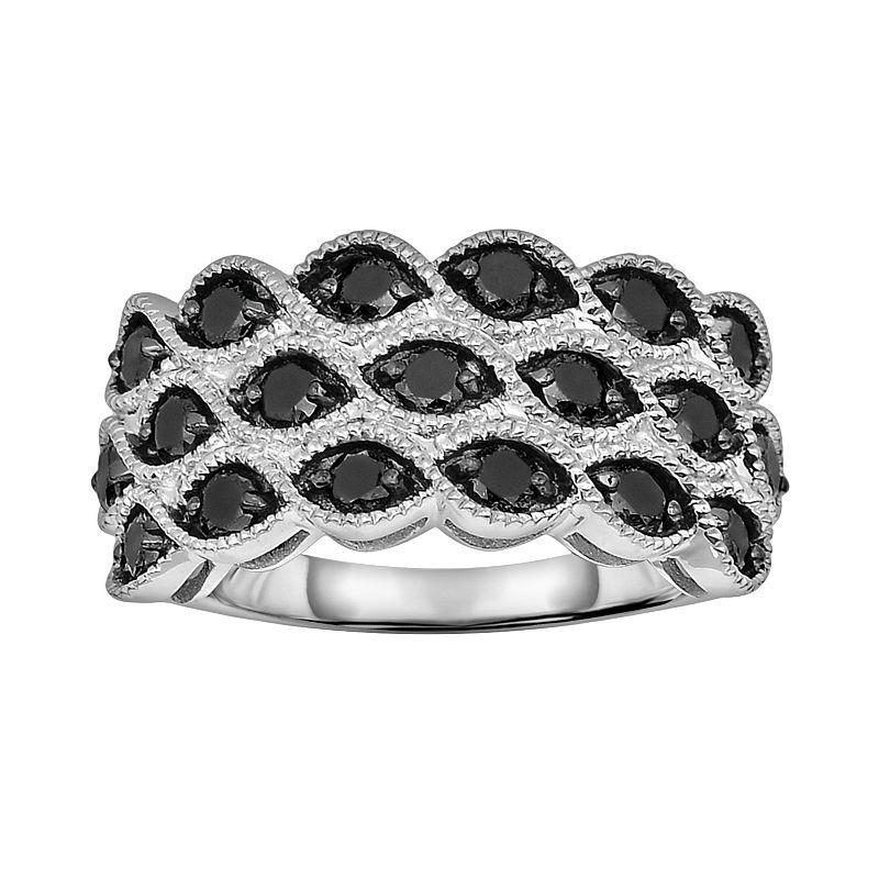 Sterling Silver 1-ct. T.W. Black Diamond Multirow Ring