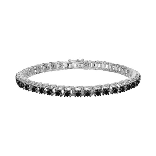Sterling Silver 3-ct. T.W. Black Diamond Tennis Bracelet
