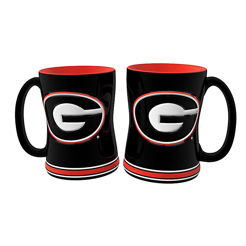 Georgia Bulldogs 2-pc. Relief Coffee Mug Set