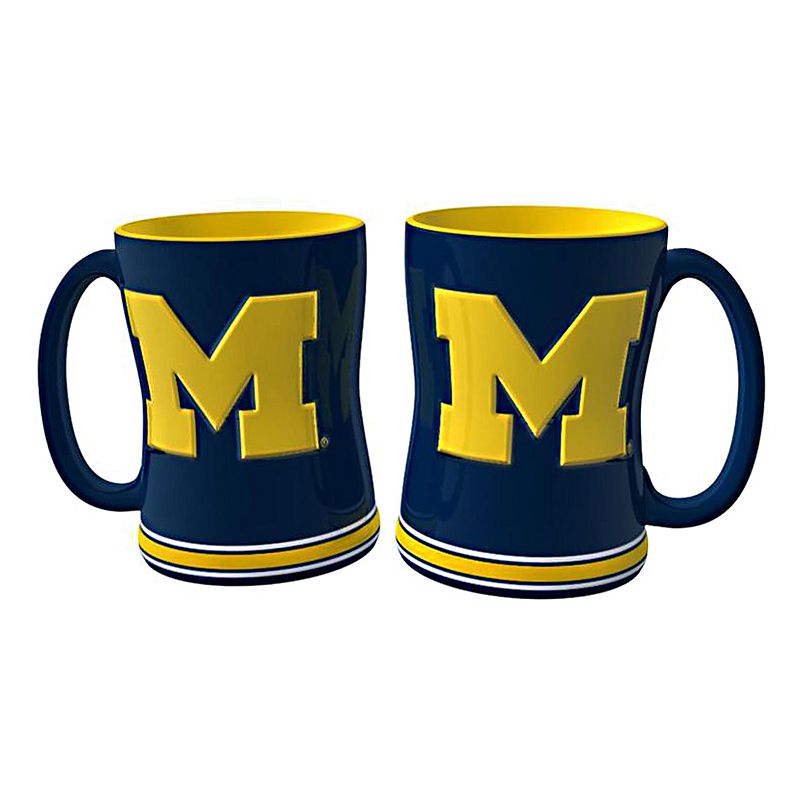 Michigan Wolverines 2-pc. Relief Coffee Mug Set