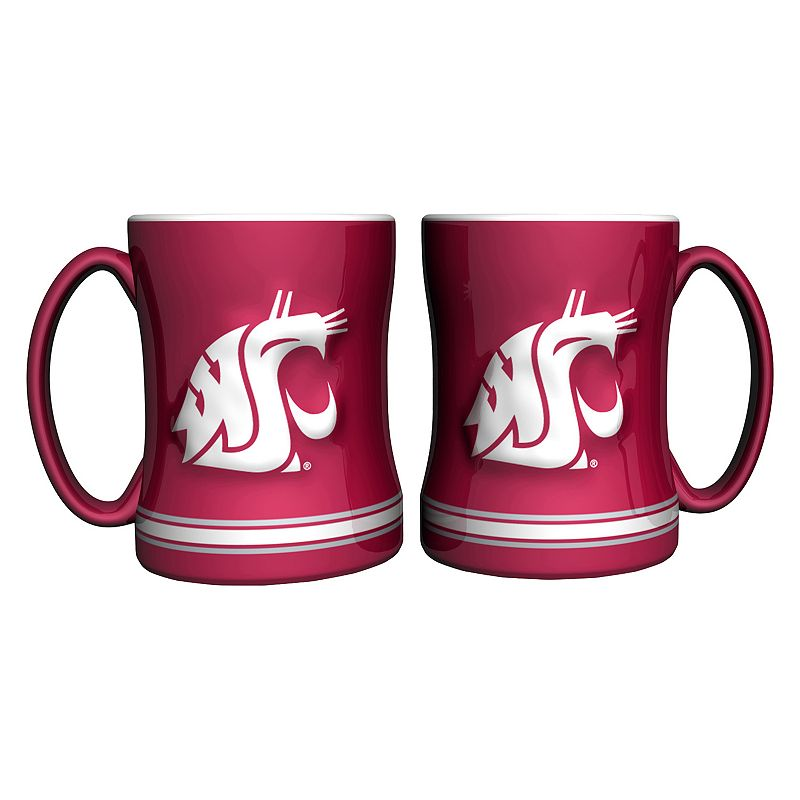 Washington State Cougars 2-pc. Relief Coffee Mug Set