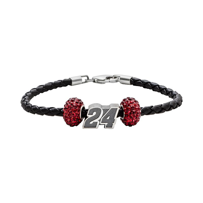 Insignia Collection NASCAR Jeff Gordon Leather Bracelet and Sterling Silver 24 Bead Set